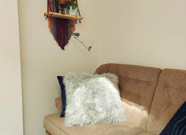 a photo of the inside of sarah's counselling office, showing a couch with soft cushions and a wall hanging shelf with plans